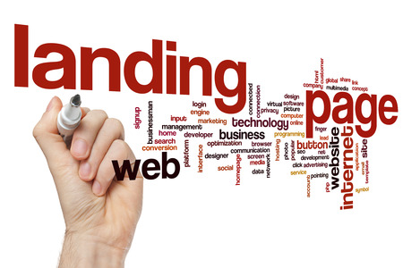 Landing page word cloud Stock Photo