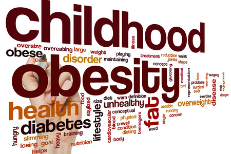 childhood obesity: Childhood obesity word cloud concept