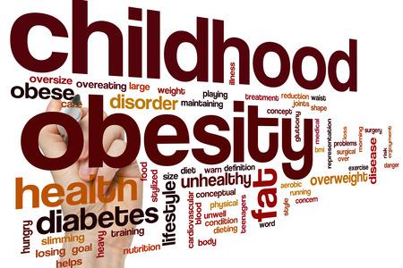 obesidad infantil: La obesidad infantil concepto de nube de palabras