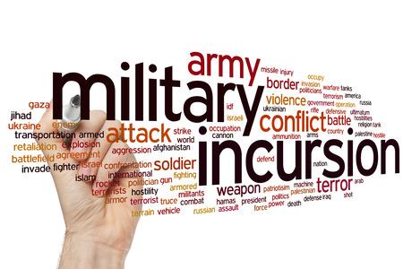 incursion: Concept de l'incursion militaire mot fond de nuage Banque d'images