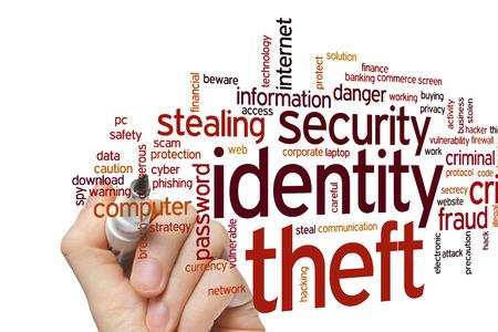 アイデンティティ盗難の概念単語雲背景