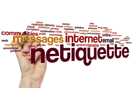 conferencing: Netiquette concept word cloud background Stock Photo