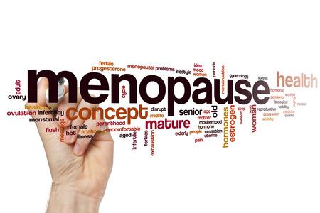 progesterone: Menopause word cloud concept Stock Photo