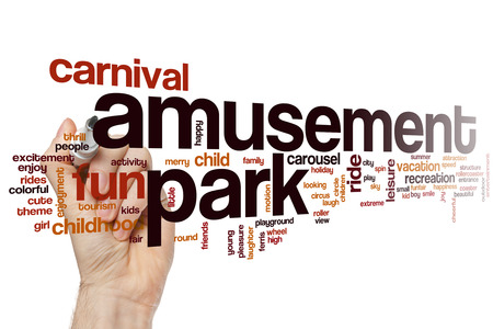 carnival ride: Amusement park word cloud concept with carnival ride related tags Stock Photo
