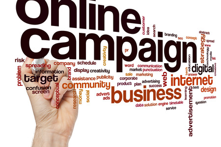 Online campaign word cloud concept with business internet related tags