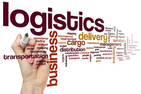 Logistics word cloud concept Foto de archivo