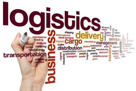 distribution box: Logistics word cloud concept Stock Photo