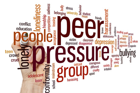 harassing: Peer pressure concept word cloud background