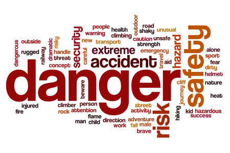 extreme danger: Danger word cloud Stock Photo
