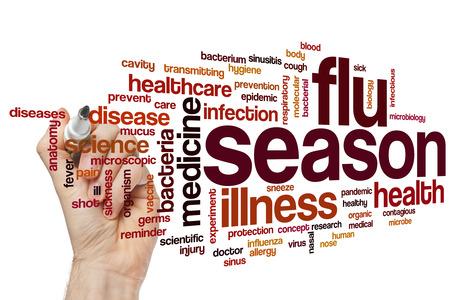 gripe: La temporada de gripe concepto de nube de palabras