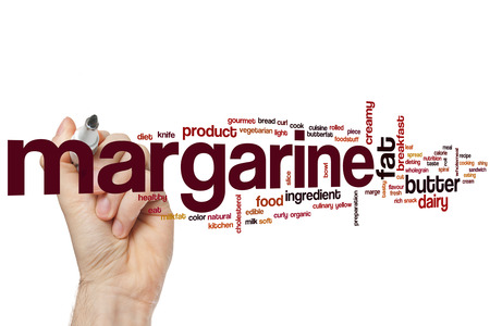 margarine: Margarine word cloud concept with butter dairy related tags Stock Photo