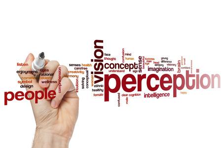 perception: Perception word cloud concept Stock Photo