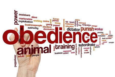 obediencia: Concepto de obediencia nube de palabras de fondo