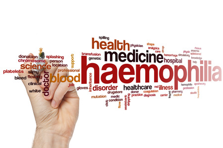 hemophilia: Haemophilia word cloud concept with health blood related tags