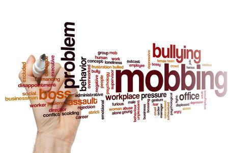 Mobbing Konzept-Wort-Wolke Hintergrund Standard-Bild