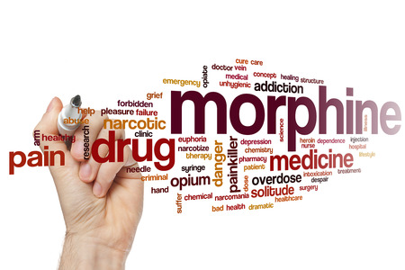 morphine: Morphine word cloud concept with drug medicine related tags Stock Photo