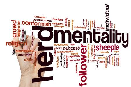 independencia: Concepto de mentalidad de reba�o nube de palabras de fondo