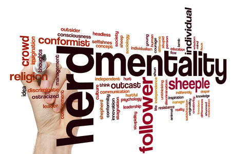Herd mentality concept word cloud background