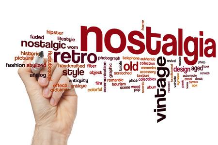 nostalgia: Nostalgia concept word cloud background Stock Photo