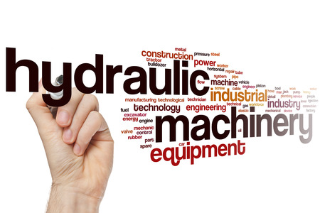 Hydraulic machinery word cloud concept with industrial equipment related tags