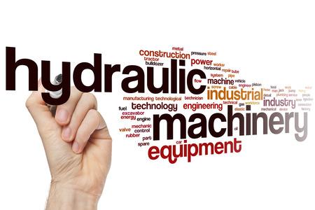 Macchina idraulica nuvola concetto di parola con tag apparecchiature industriali correlati
