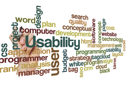 page rank: usability user project application concept word cloud on white Stock Photo