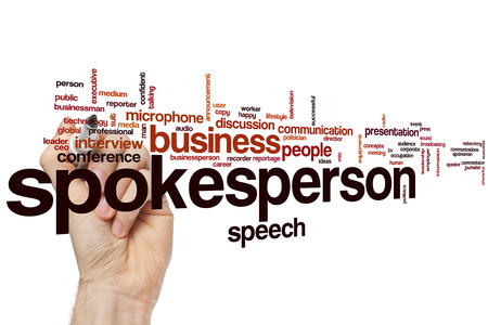 spokesperson: Spokesperson word cloud concept with business speech related tags