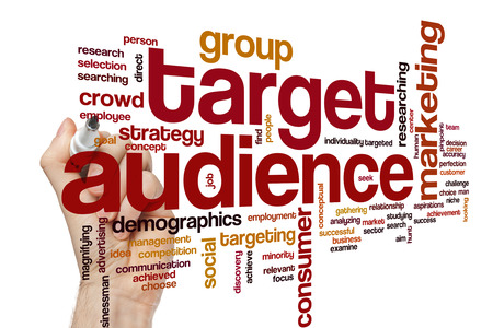 audience: Target audience word cloud concept with business marketing related tags