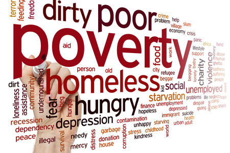 Poverty concept word cloud background