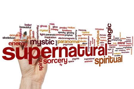 supernatural: Supernatural concept word cloud background Stock Photo