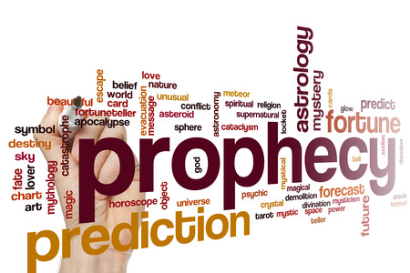 prophecy: Prophecy word cloud concept with prediction fortune related tags Stock Photo