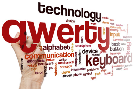 qwerty: Qwerty word cloud concept with keyboard alphabet related tags