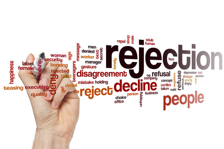 reject: Rejection word cloud concept with decline reject related tags