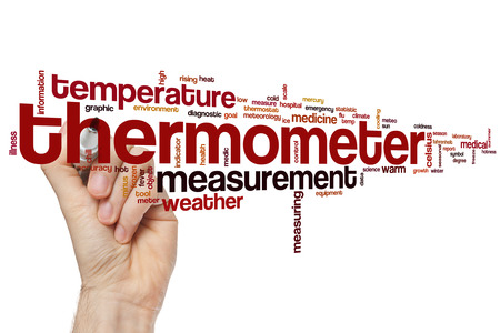 rising temperature: Thermometer word cloud concept with temperature measurement related tags Stock Photo