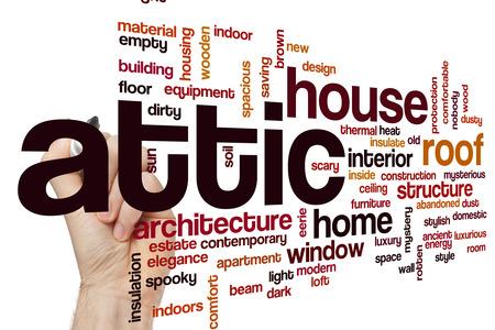 attic: Attic word cloud Stock Photo