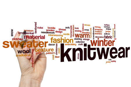 knitwear: Knitwear word cloud concept with wool warm related tags