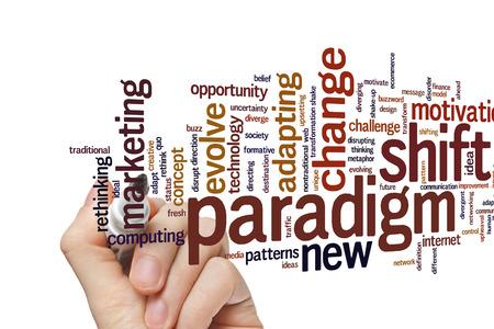 paradigma: Concepto de cambio de paradigma nube de palabras de fondo