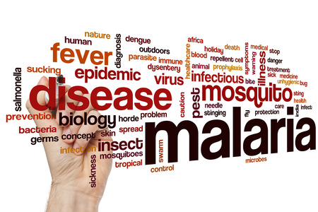malaria: Malaria word cloud concept Stock Photo