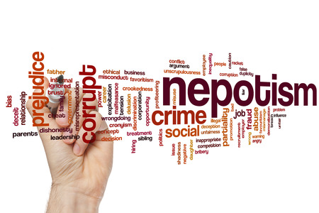 nepotism: Nepotism concept word cloud background Stock Photo