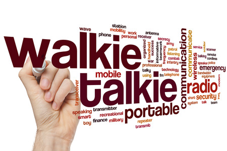 walkie: Walkie talkie word cloud concept with portable communication related tags
