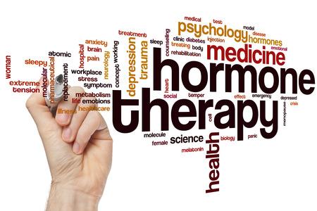 hormonas: La terapia hormonal concepto de nube de palabras Foto de archivo