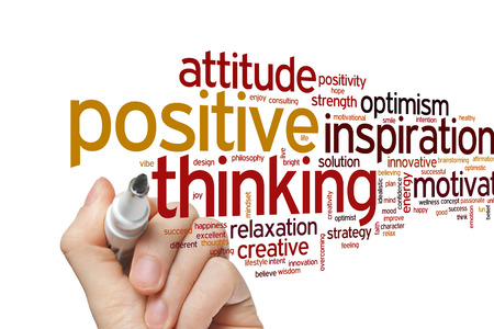 Positivo concepto de pensamiento nube de palabras de fondo Foto de archivo - 42848198