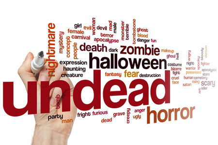 undead: Undead word cloud concept with horror scary related tags Stock Photo