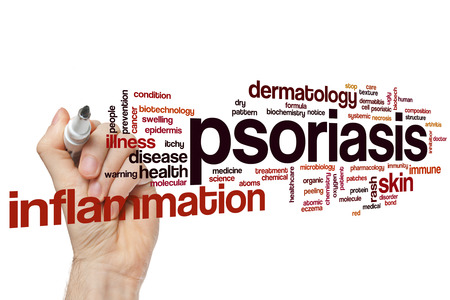 Psoriasis word cloud concept Foto de archivo