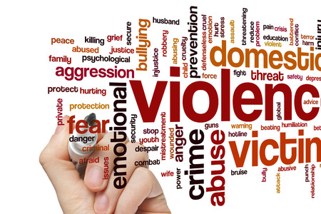 domestic violence: Violence concept word cloud background Stock Photo