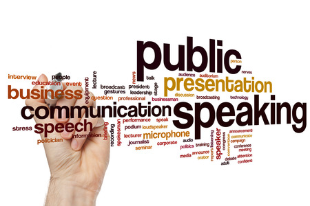 businessman talking: Public speaking concept word cloud background