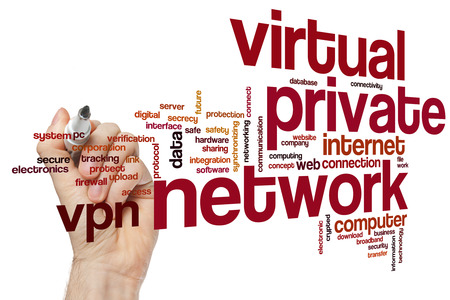 private cloud: Virtuale private network concept word cloud background Stock Photo