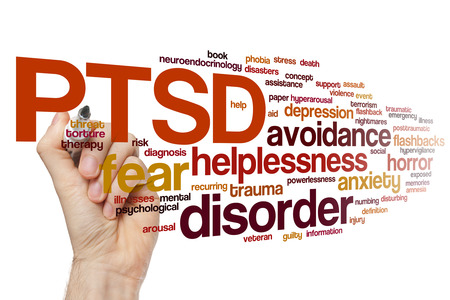 PTSD concept word cloud background