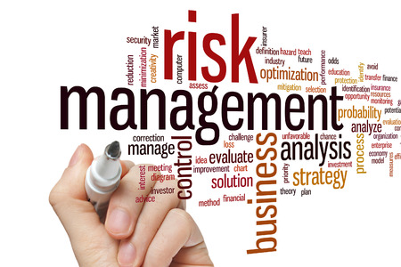 Risk management concept word cloud background
