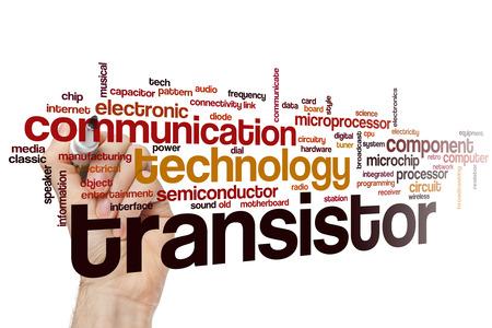 transistor: Palabra Transistor concepto de nube con etiquetas componente tecnológico relacionados